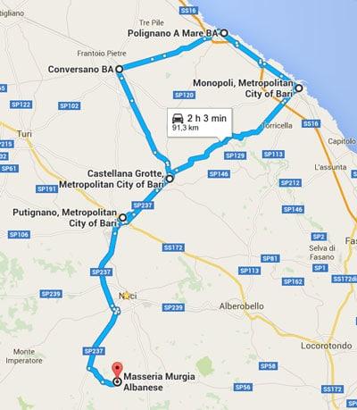 Itineraire 2 - Putignano Castellena Grotte Conversano Polignano e Mare Monopoli