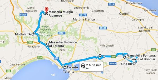 itinerario 3 - Mottola - Massafra - Taranto - Grottaglie - Francavilla Fontana - Oria